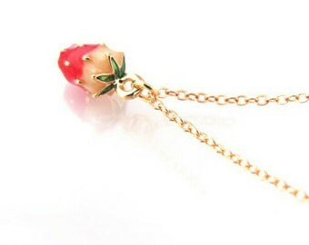 strawberry fruit necklace