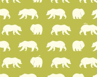 Birch Organic cotton bear hike grass bear fabric Green