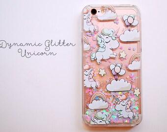 Dynamic Glitter Unicorn iPhone 7 Plus Case - Transparent iPHone 7 Plus Case - Quicksand Glitter iPhone 7 Plus Case - Shop Closing SALE