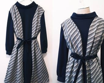 Vintage Navy Blue Turtle Neck Dress / Jacket Two Piece
