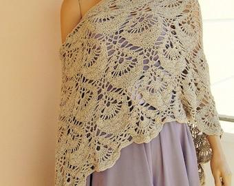 Crochet caramel shawl, hand made beige shawl, summer wrap, beach wrap, summer shawl, wedding shawl