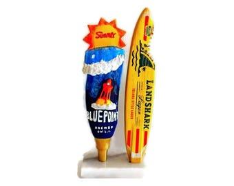 Surfboard & Wave Tap Handles With Display-Surfer/Surfing Gifts-Landshark-Blue Point Summer-Beer -Surf Decor-Tiki Bar-Beach House-Boyfriend