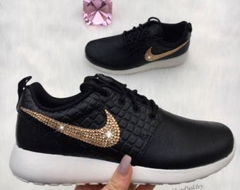 SALE Gold Nike Roshe One LX Shoes Customized With Gold Swarovski Nike Crystals
