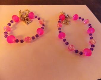 Beaded Hand made 2 pcs. Bracelets w/ Purple jade