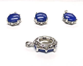 15x20 MM Lapis Lazuli Cabs Pendent Silver 92.5%