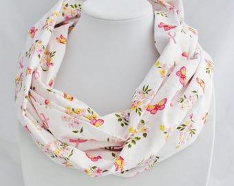 Breast cancer scarf, infinity scarf, breast cancer gift, survivor, nurse gift,  Breast Cancer Awareness, pink ribbon,  butterfly scarf