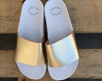 Gold Slides, Greek Leather sandals, Gift for her,Greek Gold Women Sandals, Gold sandals, Gold Leather Sandals, Women Leather Slide Sandals,