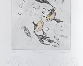 "Two Fishes "" original print by Katarina Vasickova"