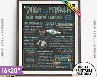 "70th Birthday Gift, 1948 Birthday Poster, Back in 1948 Flashback 70 Years Ago, 1948 Bday, Chalkboard Style PRINTABLE 8x10/16x20"" 1948 Poster"