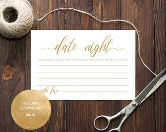 INSTANT DOWNLOAD 4x6 Date night ideas for bride and groom card Advice for the happy couple calligraphy Printable Gold Cards #DP130_14