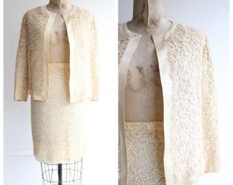 Vintage 1950's Silk & Lace Skirt Suit Cream suit fifties goodwood revival fifties bridesmaid vintage wedding original fifties hershelle suit