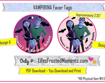 PDF Vamperina Inspired Custom Personalized Round Favor Tag/Cupcake Labels You DOWNLOAD and PRINT