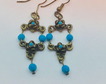 Turquoise Brass Drop Earrings