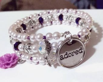 Purple flower Adored bracelet