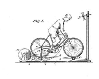 Bicycle Exercising stand Patent #642919 dated Feb. 6, 1900.