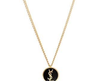 Re-worked Gold & Black Enamel YSL Button Necklace Vintage Pendant Unisex Yves Saint Laurent Chain