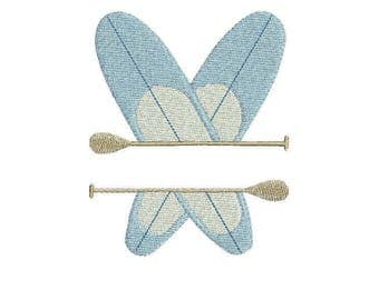 Crossed Paddle boarding embroidery design