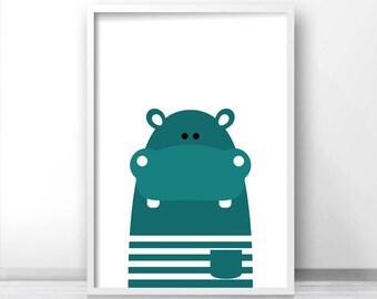 Printable Kids Wall Art, Modern Kids Art, Hippo Nursery Art, Animal Print For Nursery, Kids Print, Instant Download Printable Nursery Art