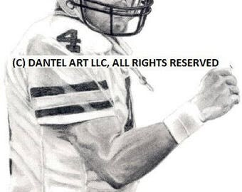 BRETT FAVRE Green Bay Packers Lithograph Pencil drawing print set 8x10 Limited Edition of 10K