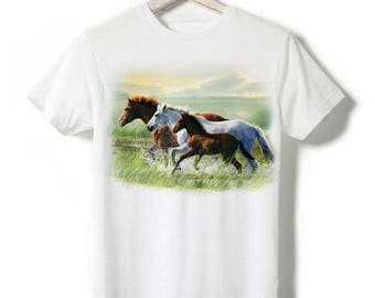 T-shirt - White, three horses in the fan