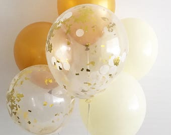 Ivory and Gold Confetti Balloons Gold ivory Latex Balloons Gold Bridal Shower Gold Wedding Rose Gold Balloons Ivory Balloons Neutral Decor