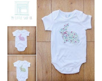 Short sleeve bodysuit with appliqué bunny in floral fabric - sage green, pink or like green