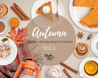 Autumn V.1 / Digital styling props collection / Movable elements / Instant download