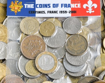 Lot of 15 - 100 France Coins Francs Centimes Pre-Euro French Coins 1959-2002