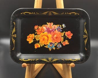 Metal Snack Tray, Small Hand Painted Tray, Tip Tray, Vintage Tray, Floral Tray, Small Metal Tray