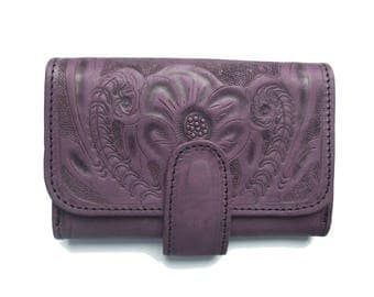 Leather wallets for women. Bifold PURPLE Leather Wallet- Wallet for women. Portefeuille. Boho.