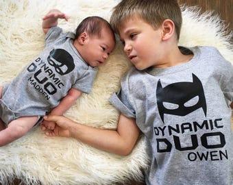 Big Brother Little Brother Superhero Inspired Shirt/Onesie Set