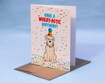 Wheaten Terrier Birthday Card - Happy Birthday Wheaten Terrier Dog Card - Have a Wheat-tastic Birthday! Soft-Coated Wheaten Terrier Dog Card