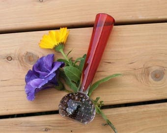 Glass Bud Vase - Lava Red with Controlled Bubbles