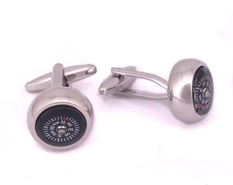 Compass Cufflinks with White details