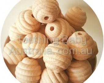 25mm BEECH WOOD BEADS - round Beehive -  Natural Eco Wood beads- Organic- Wooden - non toxic - Wholesale