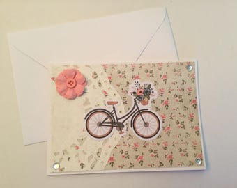 Bike card, birthday card, any occasion card, blank card, all occasions, note card, greeting card, gift card with envelope, pretty card