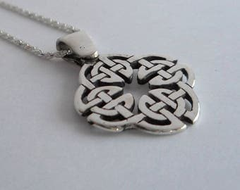 Celtic knot pendant etsy sterling silver celtic knot pendant quaternary knot necklace open celtic infinity knot made in montana fine mozeypictures Image collections
