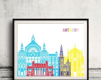Antwerp skyline pop - Fine Art Print Glicee Poster Gift Illustration Pop Art Colorful Landmarks - SKU 2363