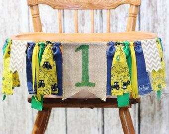 John Deere Burlap High Chair Banner, John Deere 1st First Birthday, Tractor Birthday, Country Farm 1st First Birthday, Boy 1st Birthday