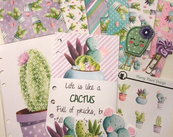 Personal Planner Deluxe Deco Pack - Dividers, Dashboard, Clips & Stickers. Pastel Cactus