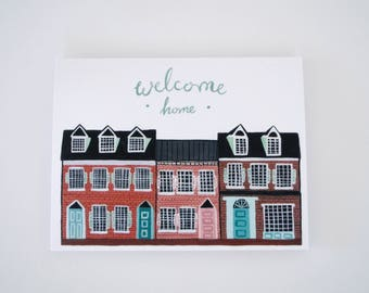 Welcome Home greeting card - hand painted individual card 5.5 x 4