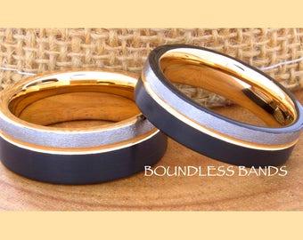 Tungsten Ring Tungsten Wedding Ring Men Women Wedding Band Promise Anniversary Engagement 8mm Black Rose Gray Matching Ring Set 6mm 8mm Ring