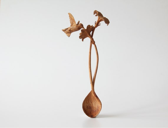Hand Carved Oak Hummingbi...