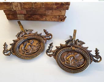 10 % SALE 2 pull brass drawer , decorative drawer pendant Antique style with angels. Romantic decor