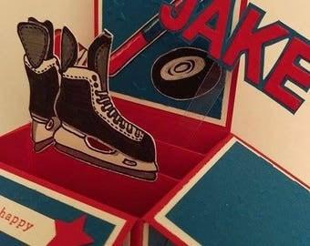 Pop up ice hockey fan birthday card