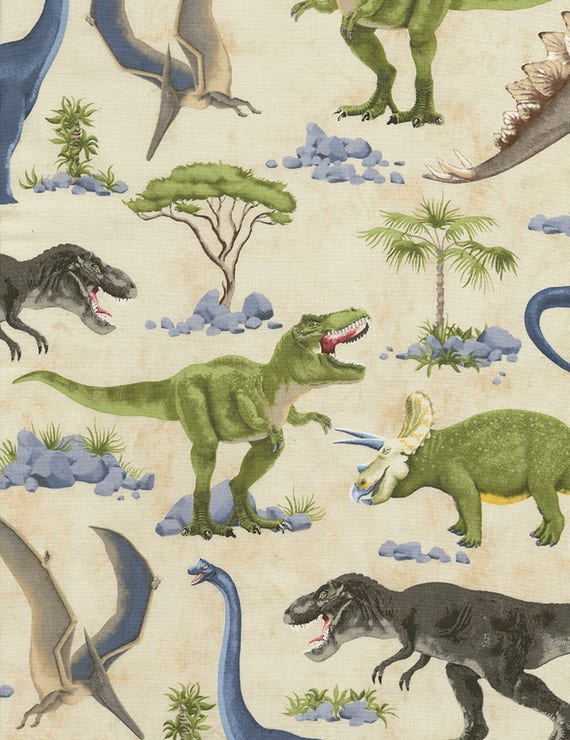 Dinosaur fabric dinosaur scenic on cream timeless for Dinosaur fabric