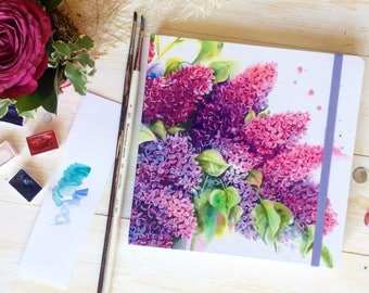 """Watercolor sketchbook """"Lilac"""""""
