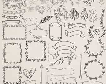 30%OFF 57 Vector digital elements , hand drawn doodle clip art , graphic design resource instant download Buy 2 Get 1 FREE