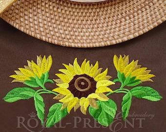 Machine Embroidery Design Three sunflowers - 5 sizes