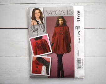 McCall's M5513 Lined Coat Sewing Pattern. Hilary Duff Sewing Pattern with Back Applique. McCalls 5513